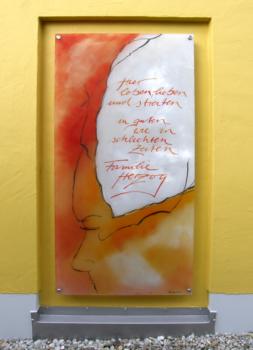 Glasmalerei Sattler - individuell gestaltetes Namensschild, Glasmalerei