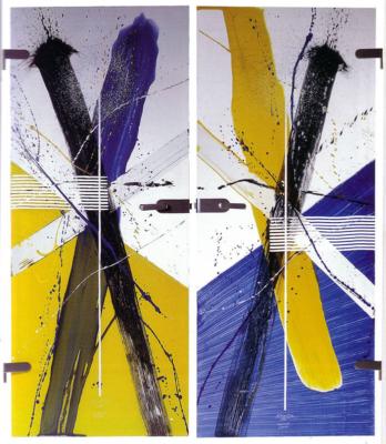 individuell und expressiv gestaltete Glastüren, Entwurf: Prof. Jürgen Reipka, Ausführung: Glasmalerei Sattler