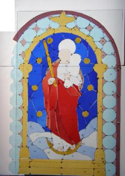 Glasmalerei Sattler - Tradionelle Fenster - Zuschnitt verschiedenen farbigen Gläser