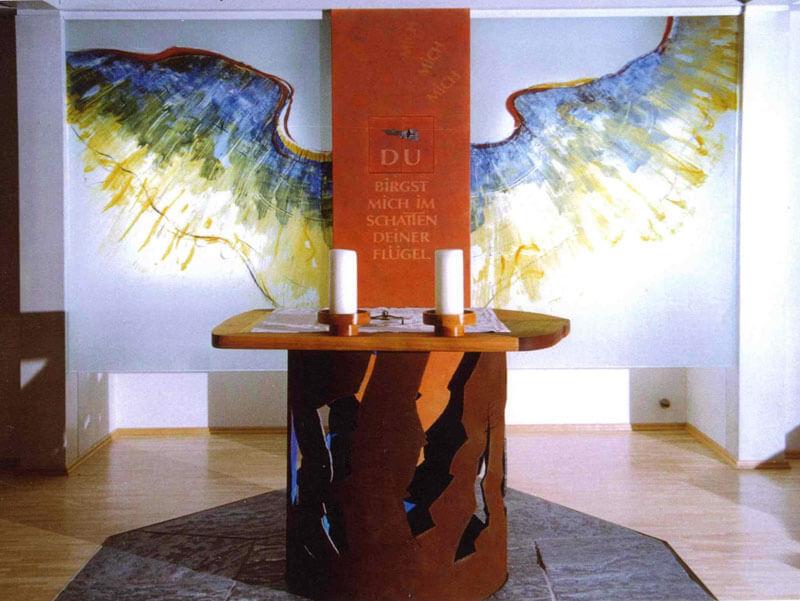 Glasmalerei Sattler - Altarrückwand im Kinderheim Augsburg-Hochzoll, Entwurf: Richard Haupt