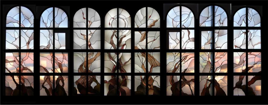 Katholische Kirche Lindau-Aeschach (Gesamtansicht), Entwurf: Prof. Georg Bernhard, Ausführung: Glasmalerei Sattler