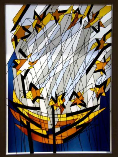 Kirchengemeinde Mariabrunn, Glasmalereifenster mit auflaminierten Farbgläsern des Gemeindesaals, Entwurf: Diether F. Domes, Ausführung: Glasmalerei Sattler