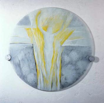 Runde Jesusscheibe, Entwurf: SW. Nicole Oblinger, Ausführung: Glasmalerei Sattler